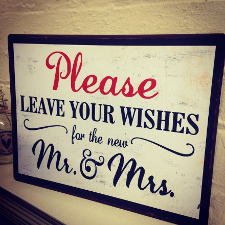 under £5 Please Leave Your Wishes For The New Mr & Mrs Vintage Sign